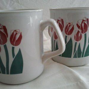 Stoneware Tulip Mugs Set of 2